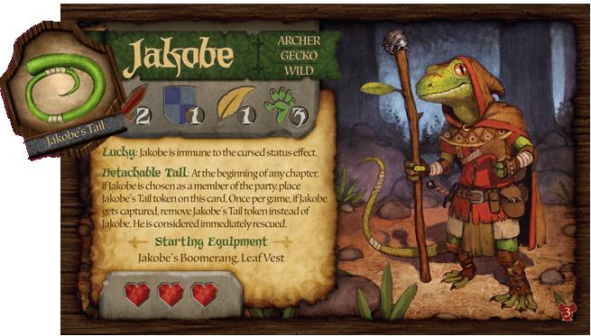 La carte personnage de Jakobe et son token pour représenter sa queue