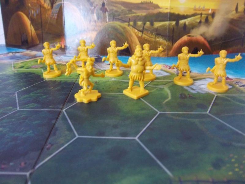 Le clan jaune est prêt pour sculpter, charrier, ériger...bref pour transpirer.