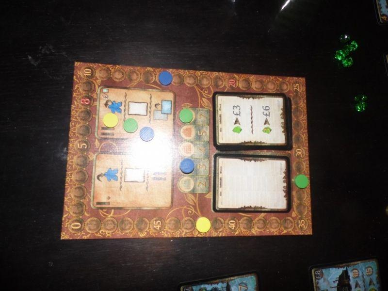 Scores (pas certain que ce soit au dernier tour... et puis, ça ne se voit pas mais on fini dans cet ordre : jaune / vert / bleu)
