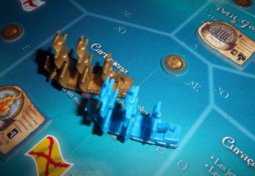 Un moment intense de la partie : Le galion commandé par Gil del Lobo (un pirate... espagnol !) va s'emparer du Galion au Trésor.