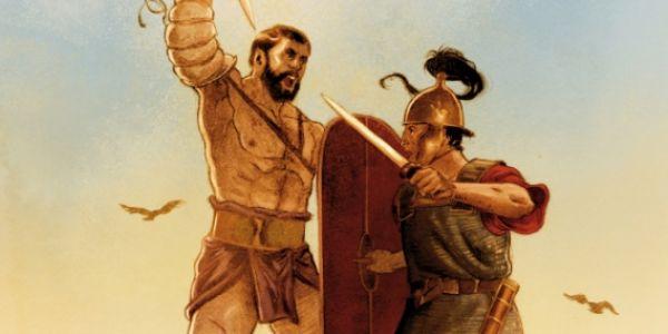 Spartacus et des romains sont sur un plateau